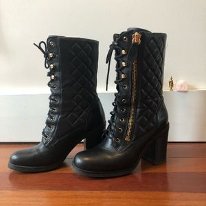 Guess Lace Up Boots Black w/ Gold Details